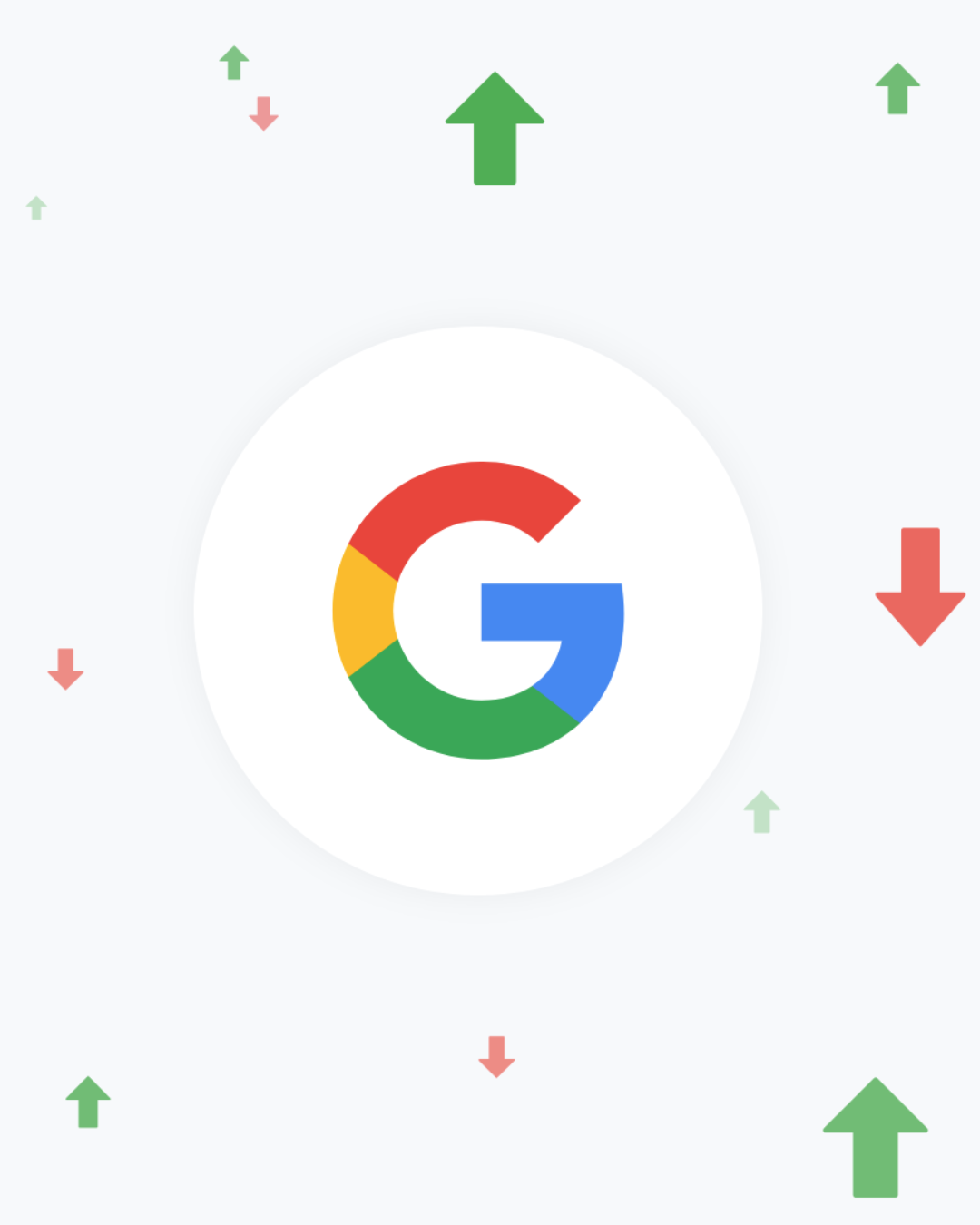Google logo with arrows to represent keyword ranking increases